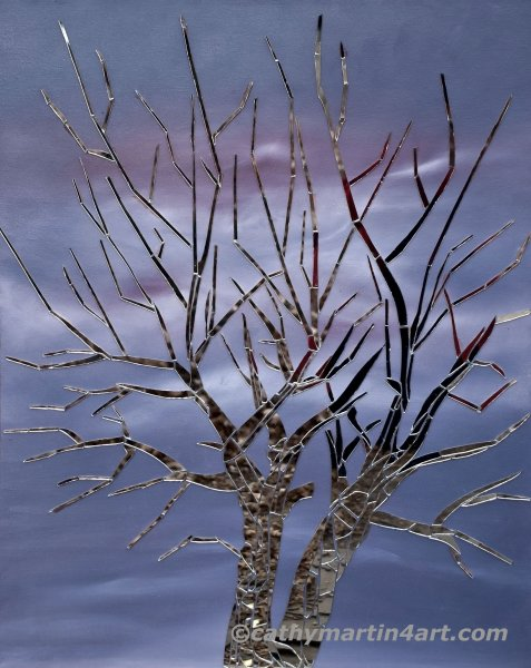 Mirror Tree mixed media art by Cathy Martin