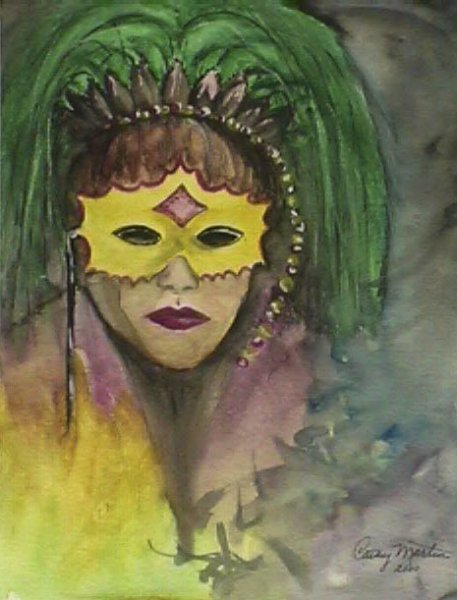 Mardi Gras Girl mixed media art by Cathy Martin