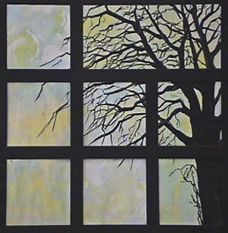 Tree in Window mixed media art by Cathy Martin