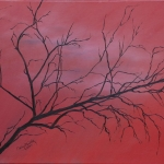 Red Tree mixed media art by Cathy Martin