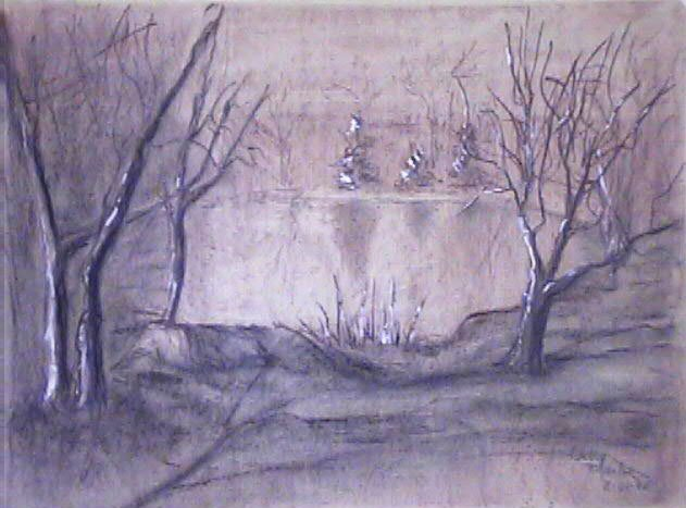 Char n sepia Potter's Lake by Cathy Martin