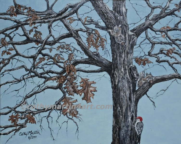 Pin Oak painting by Cathy Martin