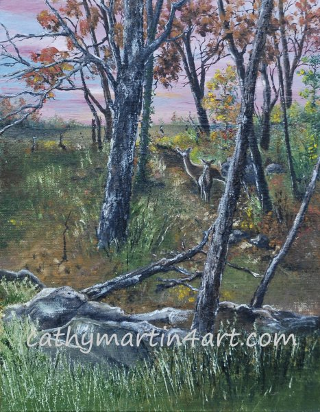 Prairie Deer painting by Cathy Martin