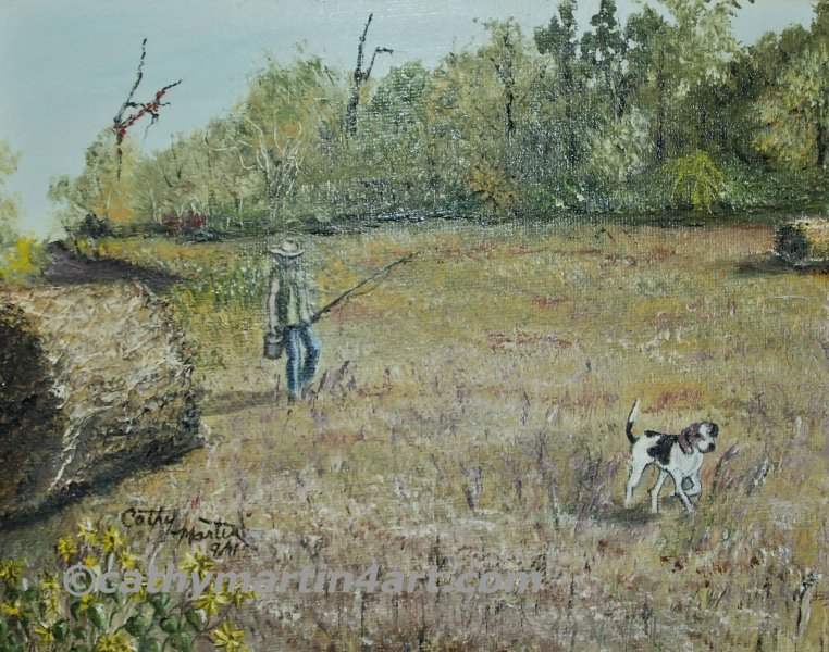 Walker Dog painting by Cathy Martin