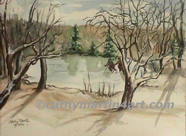 Winter's Past at Potter's Lake by Cathy Martin