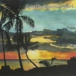 Hawaii Sunset Mural by Cathy Martin