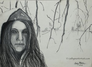 A Winter Portrait in Charcoal by Cathy Martin