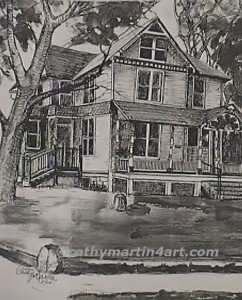 sketch of house in Lawrence by Cathy Martin