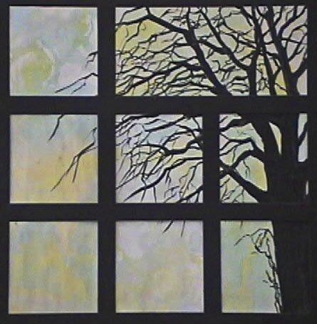 Tree in Window mixed media art by Cathy Martin