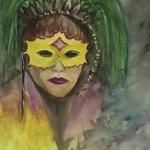 Mardi Gras Girl mixed media art by Cathy Martin