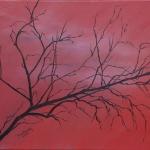 Red Tree mixed media art by Cathy Martin