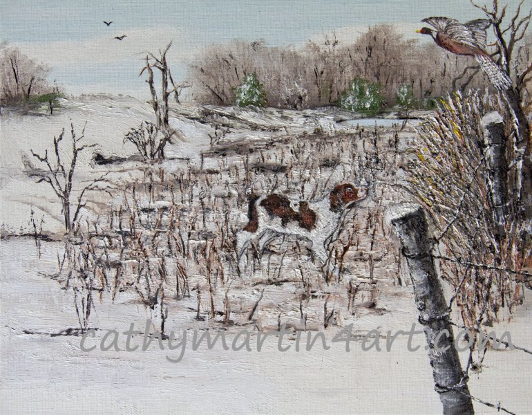 Dog & Bird painting by Cathy Martin