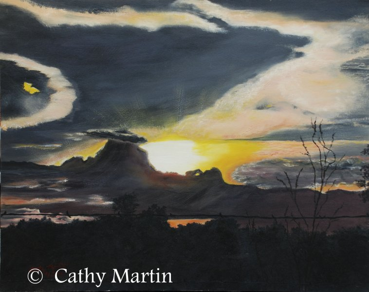 WolfSky painting by Cathy Martin